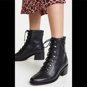 FREE PEOPLE BLACK LEATHER LACE UP COMBAT EBERLY BOOT HEEL SILVER SIZE 9 …